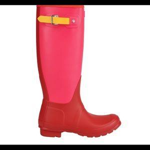Hunter Women's Red Colorblock Tall Rainboot
